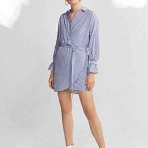 Express striped cotton poplin wrap shirt dress
